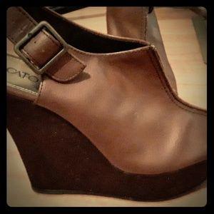 High heel wedge, strap back,peep toe leather wedge